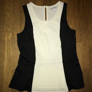 Black and White Peplum Top